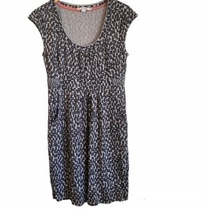 Boden Black Gray Printed Pocketed Synched Dress Size 8